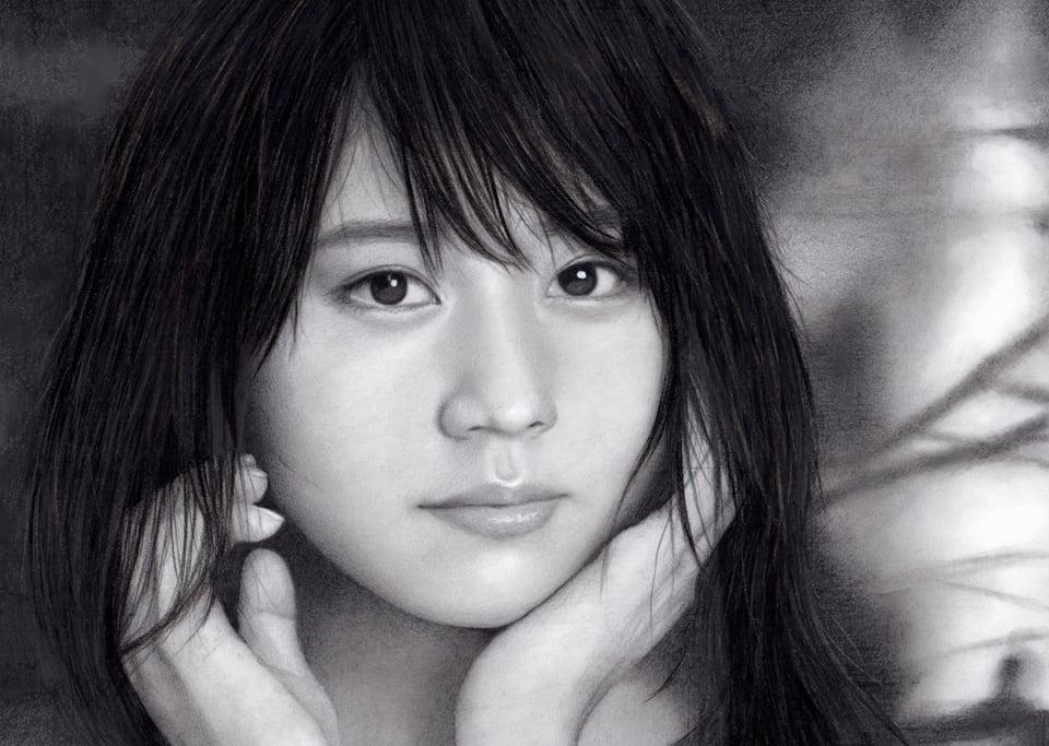 鉛筆画 有村架純SK-II×ナショナルジオグラフィック